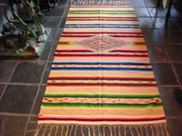 Mexican vintage textile, a Saltillo sarape, c. 1920. Woven of very fine wool with silk in the center diamond and side-bar decorations.