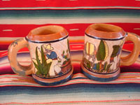 Mexican vintage pottery and folk art, a pair of wonderful petatillo pulque or beer mugs with beautiful scenes, Tonala, Jalisco, c. 1930-40's. These are attributed to the famous Tonala artist, Balbino Lucano. Main photo of both mugs.