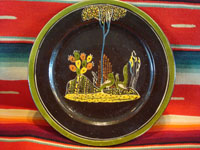 Mexican vintage pottery and folk art, a lovely blackware plate with wonderful birds, c. 1930's. The scene is extremely well-painted, and the birdies are very endearing. Main photo.