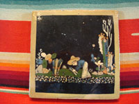Mexican vintage pottery and folk art, a blackware tile with a beautiful scene of a campesino gathering and bundling wood, Tlaquepaque, Jalisco, c. 1930's. Main photo of front of this tile.
