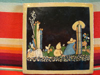 Mexican vintage pottery and folk art, a blackware tile with a beautiful scene of a campesino dressed in his Saltillo sarape, resting amidst dense foliage and plants, Tlaquepaque, Jalisco, c. 1930's. Main photo of the front of the tile.