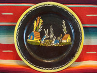 Mexican vintage pottery and folk art, a wonderful blackware plate with two bunnies, Tlaquepaque, c. 1930's. This plate resembles the birdie plate above and is possibly from the same artist. Main photo.