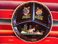 Mexican vintage pottery and folk art, a blackware plate with a wonderful scene of a campesino and his burro, Tlaquepaque, Jalisco, c. 1930's. Main photo.