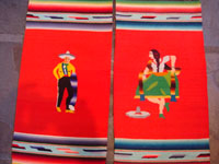 Mexican vintage textiles and Saltillo sarapes, a wonderful pair of matching Saltillo sarapes featuring a dashing Mexican charro (horseman) and a lovely China Poblana or charra dancing around a sombrero, c. 1940's. A closer photo showing the main images at the center of the matching Saltillo Sarapes.