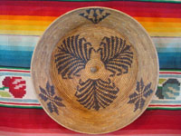 Native American Indian baskets, a fantastic Mission basket, very possibly Cahuilla, with a wonderful floral pattern, possibly Palm Springs or Santa Rosa Mountain area, c. 1920's. Main photo of the Mission Indian basket.