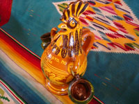 Mexican vintage pottery and ceramics, and Mexican vintage folk art, a lovely pottery chicken, holding two hanging cups for Tequila or Mescal, the state of Michoacan, c. 1950's.  Another view of the Mexican pottery chicken with cups.