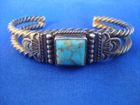 Native American Indian vintage silver jewelry, and Navajo vintage silver jewelry, a stunning silver bracelet with a very fine turquoise stone, Arizona or New Mexico, c. 1950's. Main photo of the Navajo vintage silver bracelet.