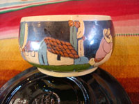 Mexican vintage pottery and ceramics, a set of 4 pottery cups and saucers, with a lovely blackware glazing and astounding artwork, San Pedro Tlaquepaque, Jalisco, c. 1930's. Closeup photo of one of the cups and saucers from Tlaquepaque.