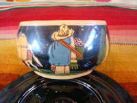 Mexican vintage pottery and ceramics, a set of 4 pottery cups and saucers, with a lovely blackware glazing and astounding artwork, San Pedro Tlaquepaque, Jalisco, c. 1930's. A closeup photo of the artwork on another of the cups from Tlaquepaque.