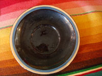 Mexican vintage pottery and ceramics, a set of 4 pottery cups and saucers, with a lovely blackware glazing and astounding artwork, San Pedro Tlaquepaque, Jalisco, c. 1930's. A photo showing the inside of one of the cups from Tlaquepaque.