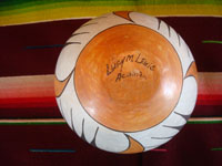 Native American Indian pottery and ceramics, a beautiful pottery bowl from Acoma Pueblo, signed on the bottom by the famous Acoma potter, Lucy M. Lewis, Acoma, New Mexico, c. 1940's.  Photo of the bottom of the Acoma pot showing the signature of Lucy M. Lewis.