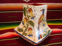 Mexican vintage pottery and ceramics, a lovely vase with wonderful floral decorations and beautiful birds, Tlaqueqaque or Tonala, Jalisco, c. 1930.  Main photo of the Tlaquepaque pottery vase.