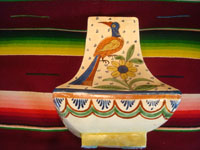 Mexican vintage pottery and ceramics, a lovely vase with wonderful floral decorations and beautiful birds, Tlaqueqaque or Tonala, Jalisco, c. 1930.  View of one side of the vase showing a lovely bird or quetzal.