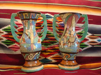 Mexican vintage pottery and ceramics, a pair of very lovely pottery vases with handles and beautiful, hand-painted decorations, Tonala or Tlaquepaque, c. 1940's. Main photo of the vases.