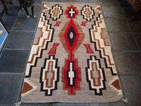 Native American Indian antique textile, a fine Navajo weaving from the Klagatoh area, c. 1920's. The colors of grey, red, brown and white are bright, and the design elements are incredibly beautiful.  Main photo of textile.