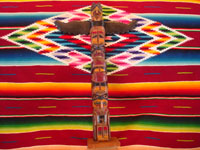 Native American Indian woodcarving and folk art, a lovely totem pole from the Pacific Northwest, c. 1940. The pole is carved from cedar and depicts an eagle and bear. Main photo of totem pole.