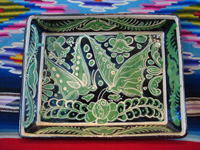 Mexican vintage pottery and ceramics, a fantasia rectangular baking dish with wonderful butterflies, Tonala or Tlaquepaque, Jalisco, c. 1930's.  Main photo.