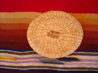 Native American Indian antique basket, a finely woven Northwest Coast basket, woven around a Pond's Cold Cream Jar and lid, Nootka or Makah Indians, c. 1920's. Photo showing the bottom of this Indian basket.