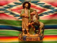Mexican vintage folk art, and Mexican vintage pottery and ceramics, a wonderful pottery figure of a Mexican paisano and his trusty quarter-horse, leaning against a tree stump, originally meant to be an ash tray, Tlaquepaque or Tonala, Jalisco, c. 1930's. Main photo of the Tlaquepaque pottery figurine.