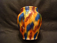 "Mexican vintage pottery and ceramics, a beautiful drip-ware (losa goteada) vase with vibrant colored glazes, Oaxaca, c. 1930's. This style of Oaxacan drip-ware pottery is commonly known as ""Mexican majolica"", and it is extremely beautiful! Another side view of the Oaxaca drip-ware vase."