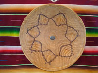 Native American Indian vintage baskets, a fantastic Mission Indian basket with a lovely star-burst design, Cahuilla, Palm Springs, CA, area, c. 1920. Main photo of the Cahuilla Indian basket.