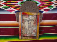 Mexican vintage devotional art, and Mexican vintage tinwork art, a lovely tinwork art nicho with a beautiful picture of the Crucified Christ, c. 1930. Main photo of the front of the tinwork art nicho.