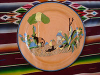 Mexican vintage pottery and ceramics, a wonderful pottery charger with fantastic artwork, Tlaquepaque or Tonala, Jalisco, c. 1930's.  Main photo of the Tlaquepaque pottery charger.
