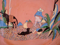 Mexican vintage pottery and ceramics, a wonderful pottery charger with fantastic artwork, Tlaquepaque or Tonala, Jalisco, c. 1930's.  Closeup photo of the scene on the Tlaquepaque charger, showing a Mexican campesino with his trusty dog.