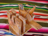 Mexican vintage folk art, and Mexican vintage woodcarvings and masks, a wonderful note-card and pen holder, with a beautifully carved bird, Chiapas, c. 1940's. A view of the back side of the carving.