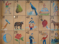 Mexican vintage paintings and fine art, and Mexican vintage folk art, a wonderful hand-painted watercolor and gouche painting of 25 individuals and scenes from the Mexican loteria (lottery), c. 1930.  Closeup photo of a part of the painting.