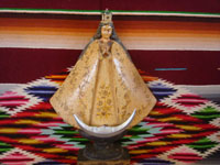 Mexican vintage devotional art, and Mexican vintage woodcarvings, a wonderful woodcarving depicting Our Lady of San Juan de los Lagos, by the noted carver, D. Cortez, c. 1930's. Main photo of the woodcarving.