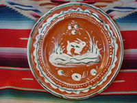 "Mexican vintage pottery and ceramics, a Bandera-ware pottery plate with a wonderful bunny, Tlaquepaque, c.1930. This type of pottery is called bandera (Spanish for ""flag"") because of the colors of red, green, and white, the colors of the Mexican flag. Very fine hand-painted decorations on this piece of vintage Mexican folk art.  Main photo."