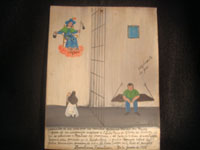 Mexican vintage devotional art and folk art, an ex-voto painted on tin, Zacatecas, June 30, 1930. Ex-voto's are created as personal expressions of gratitude to God, Our Lady, or some saint for a favor received or a prayer answered. This wonderful ex-voto was created on behalf of Jubencio Rocha who had been jailed in Zacatecas, accused of a theft he did not commit. His mother, sure of his innocence, pleads to the Santo Nino de Atocha, and he is exonerated and freed! Condition is excellent. Size: 9 1/2 inches high by 7 1/2 inches wide.  Main photo.