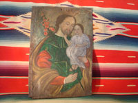 Mexican vintage devotional art, a retablo of Saint Joseph with the child Jesus painted on tin, c. 1870-1900. The colors are vibrant and the artwork is exceptional! Main photo of retablo.