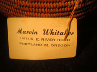 Native American Indian antique basket, Mission basket with original sales tag, 1918. Very finely woven Mission basket with the original sales tag from c. 1918. Various shades of juncus on a deer grass bundle; very tightly coiled. The original sales tag identifies this basket as from the Saboba Reservation, Riverside, California, 1918. The other side of the tag identifies the basket as coming from a Marvin Whitaker of Portland, Oregon, the dealer or original collector. Condition is excellent. Photo of the second side of the original sales tag of this Mission Indian basket.