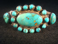 Native American Indian vintage silver jewelry, a Navajo sterling silver bracelet with wonderful natural turquoise stones, c. 1920; ingot silver. The turquoise is about the most beautiful you will ever see!  Main photo.