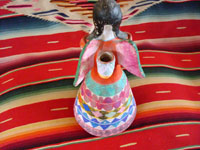 Mexican vintage pottery and ceramics, and Mexican vintage folk art, a candle-holder in the form of an angel, attributed to the famous folk artist Heron Martinez Mendoza, Acatlan, Puebla, c. 1970. Photo of angel's back.