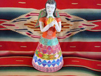 Mexican vintage pottery and ceramics, and Mexican vintage folk art, a candle-holder in the form of an angel, attributed to the famous folk artist Heron Martinez Mendoza, Acatlan, Puebla, c. 1970. Main photo.