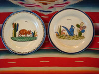 EE-25: Mexican vintage pottery and ceramics, a pair of plates with a lovely beige background, from Tlaquepaque, Jalisco, c. 1940's. One plate features a wonderful piggy and the other a lovely blue squirrel. Condition is very good; there are some very small and slight dents in the tin, which are almost unnoticeable and do not detract from this piece! Size: both plates are 7 3/4 inches diameter. Price: $125 for the pair.
