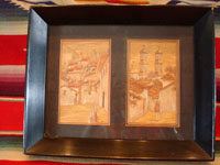 Mexican vintage straw-art or popotillo (popote art), two lovely scenes mounted in a black frame, c. 1920's. The straw-art scenes are created using thousands of minute pieces of straw, dyed various colors. Main photo.