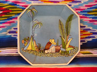 Mexican vintage pottery and ceramics, a hexagonal, blue-background plate with lovely artwork and a whimsical rural scene, Tlaquepaque, Jalisco, c. 1920-30. The plate has the stamp of the famous Arias Shop of Tlaquepaque on the back. Main photo of the Mexican Tlaquepaque pottery plate.