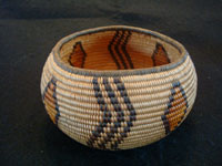 Native American Indian antique basket, a very rare and beautiful Chemehuevi basket in the shape of a graceful bowl, polychrome, and very finely woven, probably from the area near Needles, CA, and Parker, AZ, along the Colorado River, c. 1920. Main photo of the Indian basket.