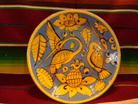 Mexican vintage pottery and ceramics, a beautiful Fantasia-ware plate decorated with wonderful and graceful herons, Tonala or Tlaquepaque, Jalisco, c. 1930's.  Main photo of the fantasia-ware plate with lovely herons.