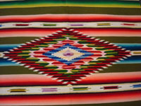 Mexican vintage textiles and serapes (sarapes), a lovely Saltillo serape with a wonderful avocado-green background and intricate center medallion, c. 1930's.  Closeup photo of the center medallion of wood and silk.