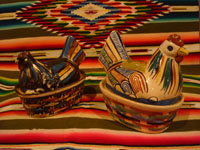 Mexican vintage folk art, and Mexican vintage pottery and ceramics, two very small pottery casseroles in the form of nesting hens or chickens, Tonala or Tlaquepaque, Jalisco, c. 1940's. Main photo of the pair.