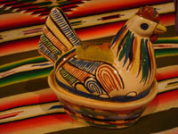 Mexican vintage folk art, and Mexican vintage pottery and ceramics, two very small pottery casseroles in the form of nesting hens or chickens, Tonala or Tlaquepaque, Jalisco, c. 1940's. Closeup photo of the cream-colored chicken.