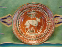 Mexican vintage pottery and ceramics, a wonderful bandera-ware plate decorated with a graceful deer, Tonala or San Pedro Tlaquepaque, Jalisco, c. 1930's.  Main photo of the plate.