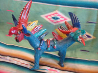 Mexican vintage folk art, and Mexican vintage pottery and ceramics, a ferocious figure of the mythical nagual by the famous folk artist, Candelario Medrano, Santa Cruz de las Huertas, Jalisco, c. 1940-50's. Main photo of the nagual by Candelario Medrano.