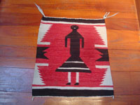 Native American Indian vintage textiles and Navajo rugs, a lovely Navajo weaving depicting a woman in a dress, Arizona or New Mexico, c. 1930's.  Main photo of the Navajo pictorial textile.