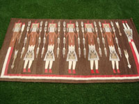 Native American Indian textiles, and Navajo vintage textiles and rugs, a beautiful Navajo textile depicting Navajo spiritual Yei figures, Arizona or New Mexico, c. 1940's. Main photo of the Navajo Yei textile or rug.